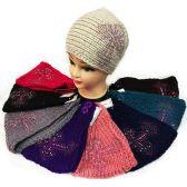36 Units of Wholesale Rhinestone Cross Knitted Headband Ear Band - Headbands