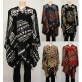 12 Units of Wrap-Around Shawl [Aztec Design] - Winter Pashminas and Ponchos