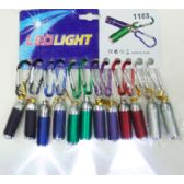 36 Units of 12 pk Adjustable Keychain Flashlight Assorted Colors - Flash Lights