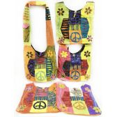 10 Units of Wholesale Nepal Hobo Bags Large Peace Sign with Flowers Assorted