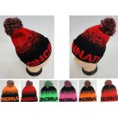 72 Units of Knitted Hat with PomPom [CINCINNATI] Digital Fade - Winter Beanie Hats