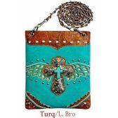 15 Units of Wholesale Cross with wing design phone purse Turquoise - Shoulder Bag/ Side Bag