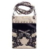 15 Units of Wholesale Double Gun Black with Beige Chain Phone Purse - Shoulder Bag/ Side Bag