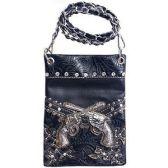15 Units of Wholesale Double Gun Design Phone Purse Black - Shoulder Bag/ Side Bag