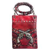 15 Units of Wholesale Double Gun Design Phone Purse Red - Shoulder Bag/ Side Bag