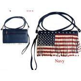 10 Units of Wholesale Wallet Purse American Flag Pattern with Fringes - Shoulder Bag/ Side Bag