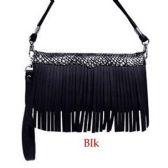 10 Units of Wholesale Black Fringe Wallet Purse WOC - Shoulder Bag/ Side Bag