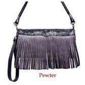 10 Units of Wholesale Pewter Fringe Wallet Purse WOC - Shoulder Bag/ Side Bag