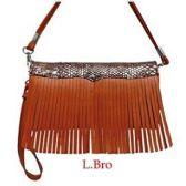 10 Units of Wholesale Light Brown Wallet Purse with Fringes - Shoulder Bag/ Side Bag