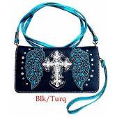 10 Units of Wholesale Rhinestone Cross with wings Wallet Black Turqoise - Shoulder Bag/ Side Bag