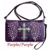 10 Units of Wholesale Rhinestone Cross with Wings Wallet Purple - Shoulder Bag/ Side Bag