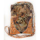 10 Units of Wholesale Rhinestone Camo with Deer Crossbody Phone Purse Orange - Shoulder Bag/ Side Bag