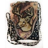 10 Units of Wholesale Rhinestone Camo with Deer Crossbody Phone Purse Black - Shoulder Bag/ Side Bag