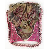 10 Units of Wholesale Rhinestone Camo with Deer Crossbody Phone Purse Pink - Shoulder Bag/ Side Bag
