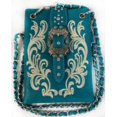 10 Units of Wholesale Buckle with Flower Embroidery Phone Purse Turquoise - Shoulder Bag/ Side Bag