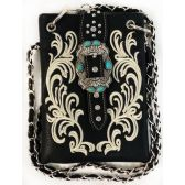 10 Units of Wholesale Buckle with Flower Embroidery Phone Purse Black - Shoulder Bag/ Side Bag