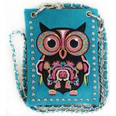 10 Units of Wholesale Colorful Owl Embroidery Studded Phone Purse Turq - Shoulder Bag/ Side Bag