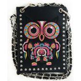 10 Units of Wholesale Colorful Owl Embroidery Studded Phone Purse Black - Shoulder Bag/ Side Bag