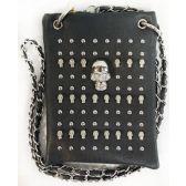10 Units of Wholesale Rhinestone Skull Studded Phone Purse Grey - Shoulder Bag/ Side Bag
