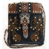 10 Units of Wholesale Double Gun Buckle Flower Embroidery Phone Purse Black - Shoulder Bag/ Side Bag