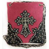 10 Units of Wholesale Rhinestone Double Cross Phone Purse Pink - Shoulder Bag/ Side Bag