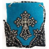 10 Units of Wholesale Rhinestone Double Cross Phone Purse Turquoise - Shoulder Bag/ Side Bag