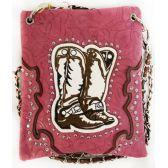 10 Units of Wholesale Cowboy Boots Embroidery Studded Phone Purse Pink - Shoulder Bag/ Side Bag