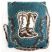 10 Units of Wholesale Cowboy Boots Embroidery Studded Phone Purse Turquoise - Shoulder Bag/ Side Bag