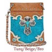 10 Units of Wholesale Rhinestone Cross Turquoise Center Phone Purse - Shoulder Bag/ Side Bag