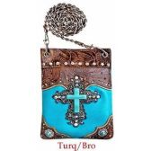 10 Units of Wholesale Rhinestone Cross with Turquoise Center Phone Purse - Shoulder Bag/ Side Bag