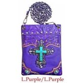 10 Units of Wholesale Purple Rhinestone Cross with Turquoise Center Phone Purse - Shoulder Bag/ Side Bag
