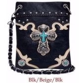 10 Units of Wholesale Rhinestone Cross with Turquoise Center Phone Purse BLK - Shoulder Bag/ Side Bag