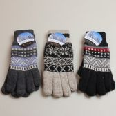 24 Units of Mens Gloves - Wool Blend Jaquard Winter - Knitted Stretch Gloves