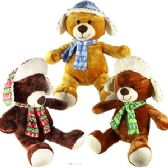 12 Units of LARGE PLUSH WINTER BEARS W/ HATS & SCARVES.