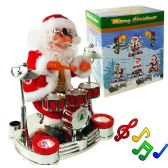 12 Units of Drum Playing Santa Claus With Lights & Music - Christmas Decorations