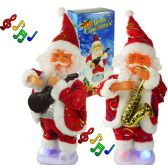 12 Units of Musical Santa Claus With Lights And Music - Christmas Decorations