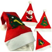 120 Units of Felt Santa Claus Hats - Christmas