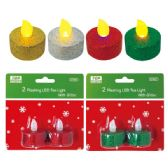 144 Units of 2pk LED tea light w/glitter