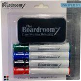 48 Units of Dry Erase Marker Set with 4 Broad Chisel Tip Makrs & Magnetic Eraser Assorted colors