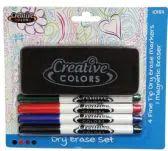 48 Units of Dry Erase Marker Set with 4 Fine Tip Makrs & Magnetic Eraser Assorted colors