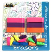 96 Units of Eraser Combo Pack 6 Wedge + 12 Pencil Caps - Erasers
