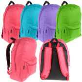 "24 Units of BACKPACK 17"" WITH PADDED BACK, MESH PADDED STRAPS, INSIDE MESH POCKET Bright Colors - Backpacks 17"""