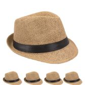 24 Units of Fashion Fedora Hat iIn Brown With Black Band - Fedoras, Driver Caps & Visor