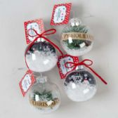 96 Units of Ornament Clear Plastic - Christmas Ornament