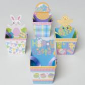 72 Units of Treat Box Glitter Paper Pail W/ Easter/spring Icons & Ribbon - EASTER