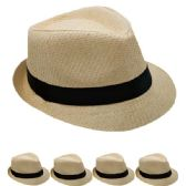 24 Units of PLAIN PAPER STRAW TAN FEDORA HAT - Fedoras, Driver Caps & Visor