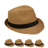 24 Units of PLAIN PAPER STRAW BROWN FEDORA HAT - Fedoras, Driver Caps & Visor