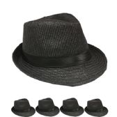 24 Units of PLAIN PAPER STRAW BLACK FEDORA HAT - Fedoras, Driver Caps & Visor