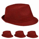 24 Units of Fedora Hat One Color In Maroon - Fedoras, Driver Caps & Visor