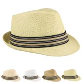 24 Units of STRAW FEDORA HAT WITH STRIPE BAND IN ASSORTED COLORS - Fedoras, Driver Caps & Visor